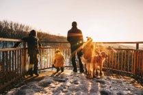 Pai, três filhos e um cão a olhar para a vista, Estados Unidos — Fotografia de Stock