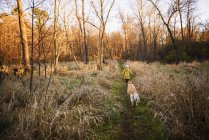 Girl walking in the woods with her dog, United States — Stock Photo