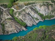Veduta aerea del paesaggio fluviale, Queenstown, Isola del Sud, Nuova Zelanda — Foto stock