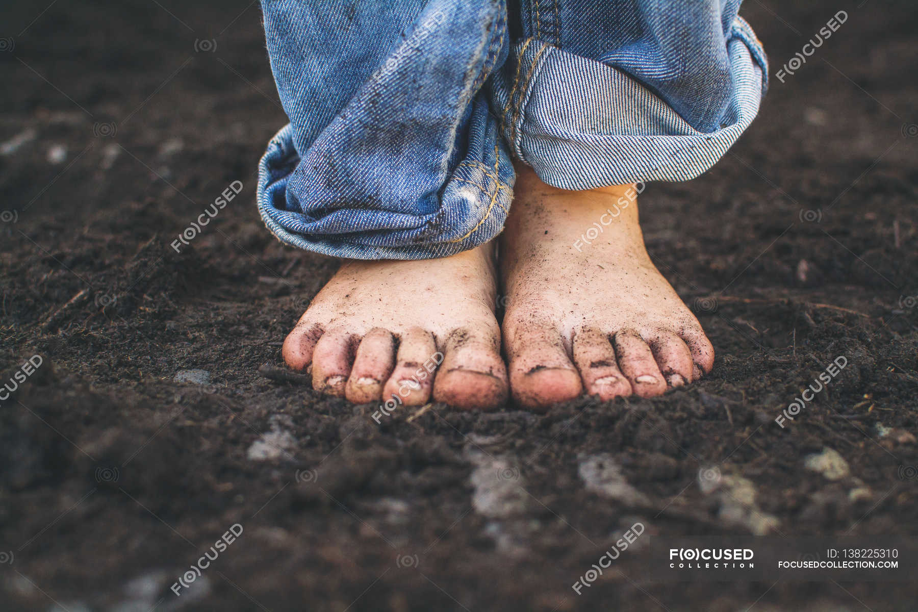 Bare Dirty Feet Walking Along Forest Stock Photo (Edit Now