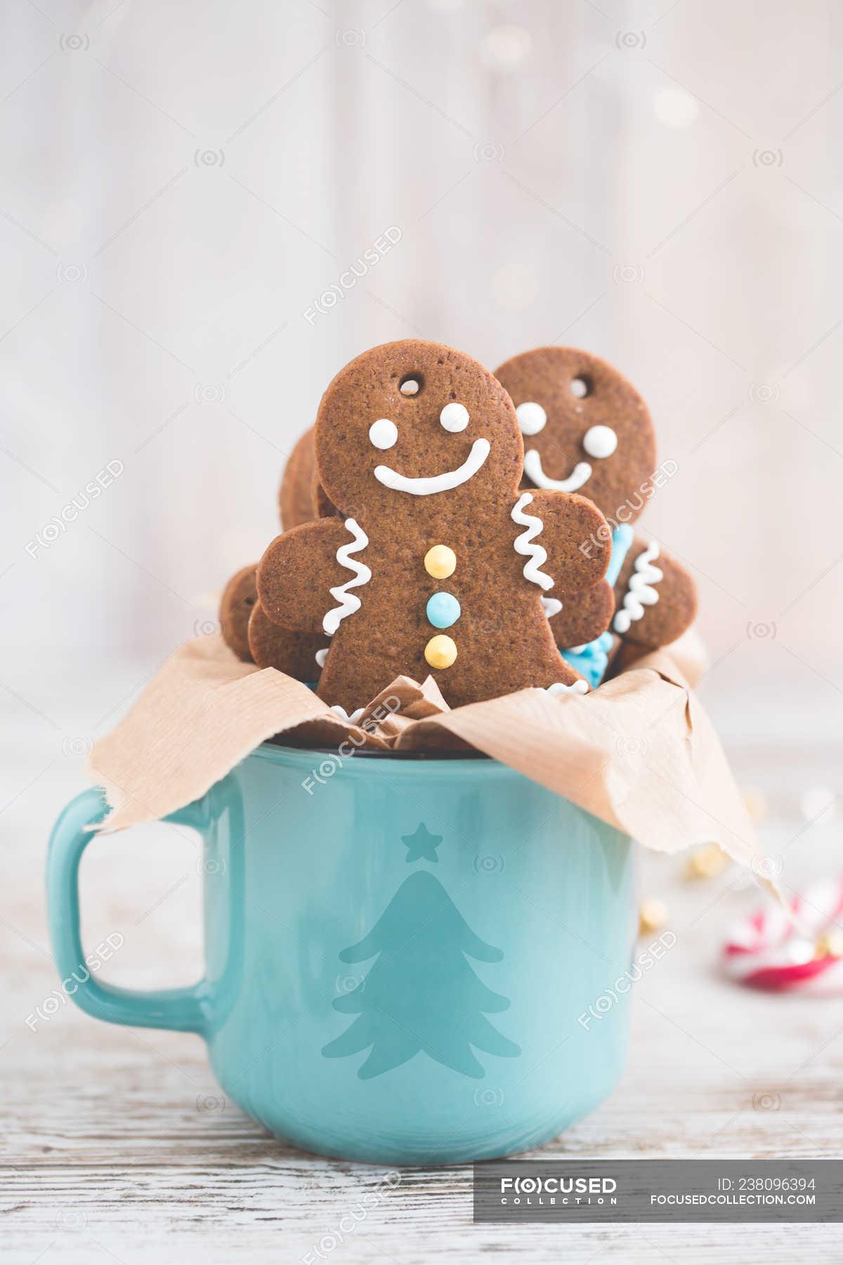 Gingerbread Man Cookies In A Christmas Mug Freshness Human Representation Stock Photo 238096394