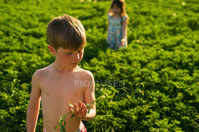 Boy and girl standing in field — Stock Photo