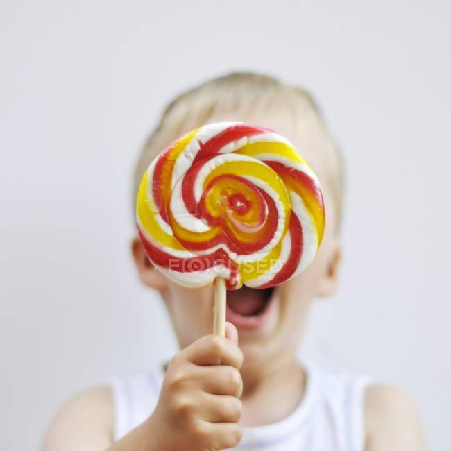 Little boy with lollypop — Stock Photo