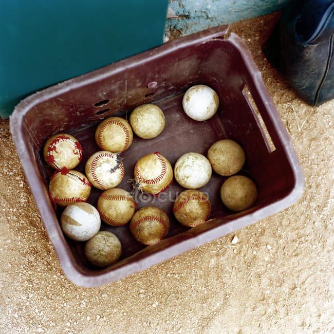Baseball balls in box — Stock Photo