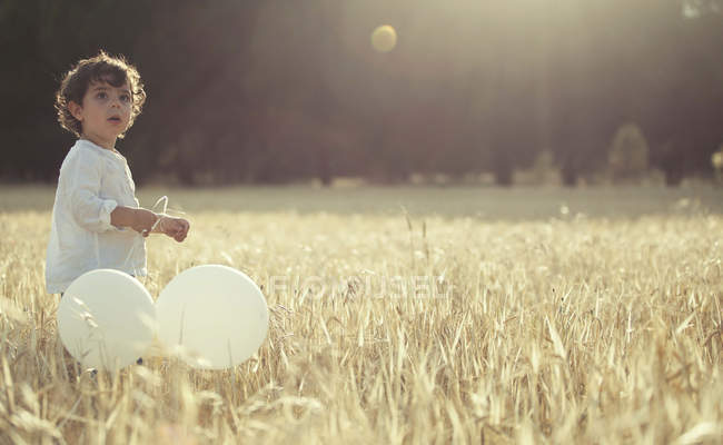 Boy holding balloons and standing in meadow — Stock Photo