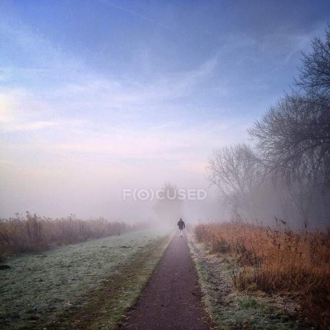 Man walking at misty morning — Stock Photo
