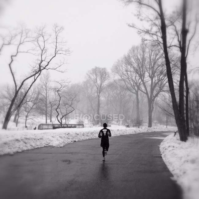 Jogger running in Central Park — Stock Photo