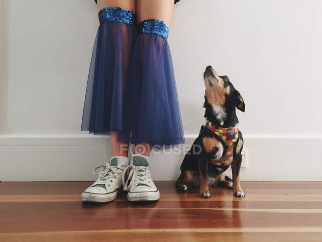 Girl in dance costume with dog — Stock Photo