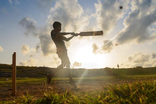 Силует людина гра крикет — стокове фото
