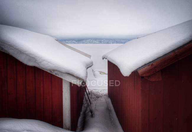Snow covered buildings — Stock Photo