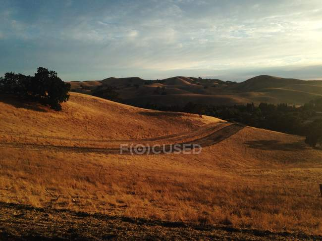 Sunset over rolling landscape — Stock Photo