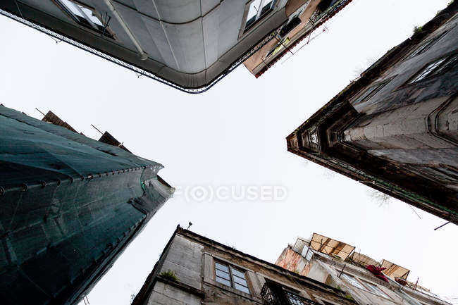 Bottom view of houses exteriors — Stock Photo