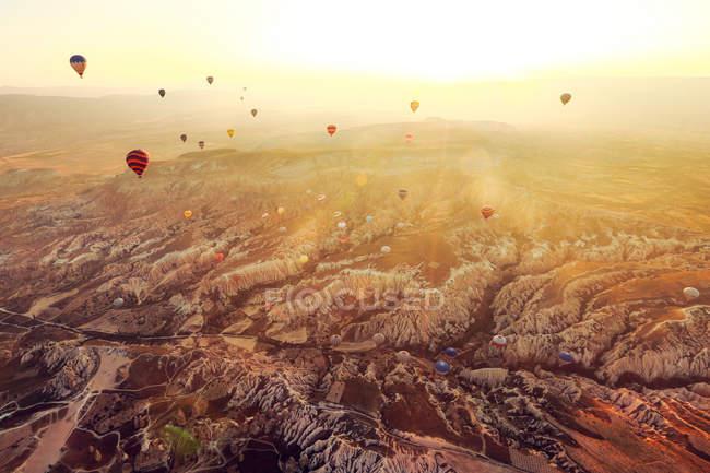 Globos de aire caliente de Turquía, Capadocia, - foto de stock