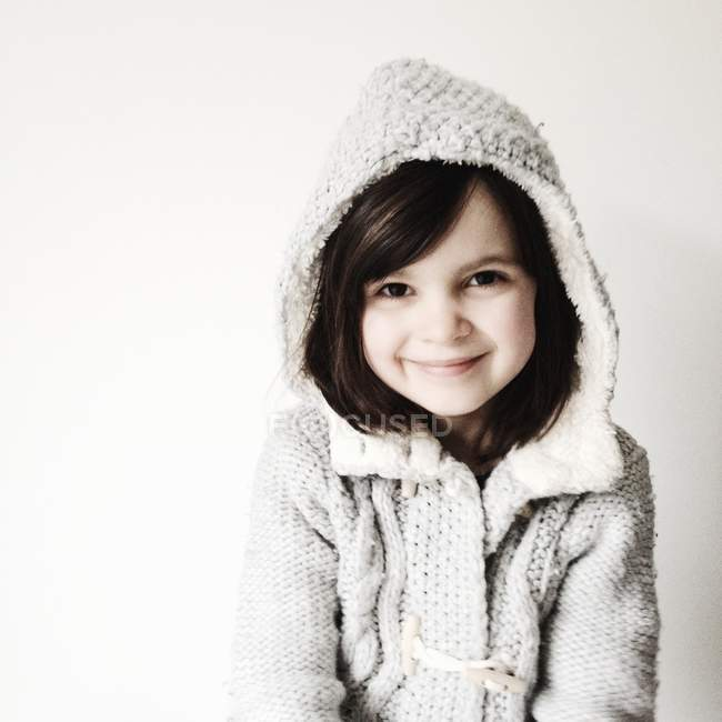 Girl wearing hooded sweater — Stock Photo