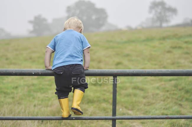 Мальчик лазает по металлическому забору — стоковое фото