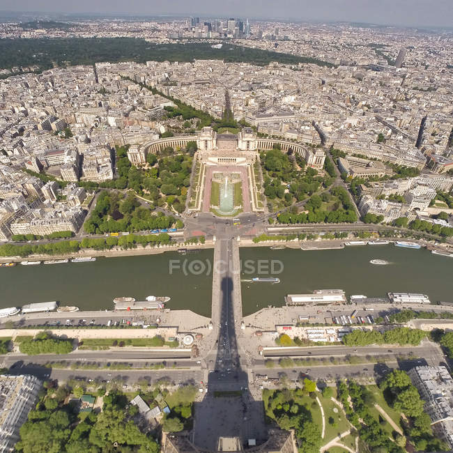 Eiffel Tower shadow on view of city — Stock Photo