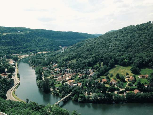 Vista elevata del villaggio — Foto stock