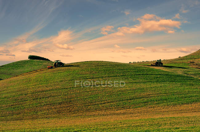 Tractors working on green field — Stock Photo