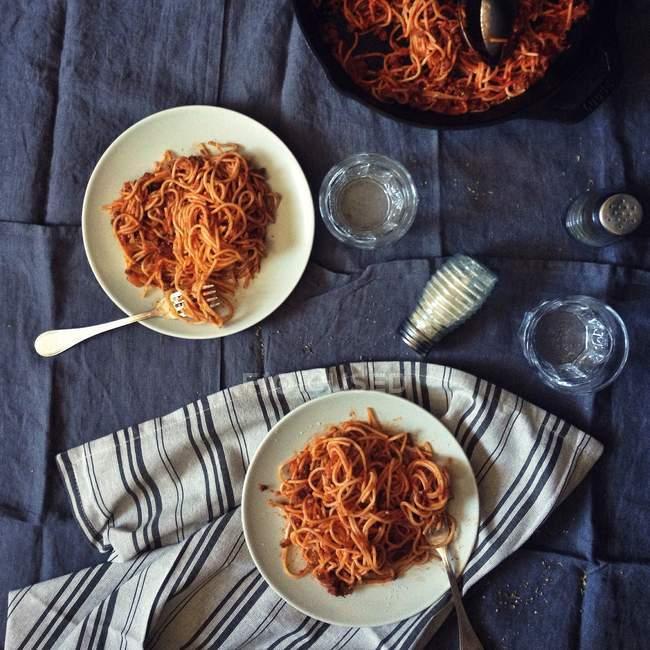Plates of Spaghetti bolognese — Stock Photo