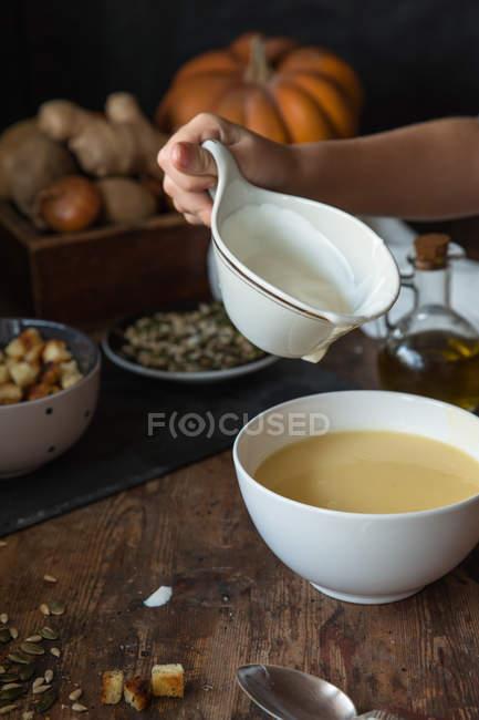 Homemade pumpkin cream soup — Stock Photo