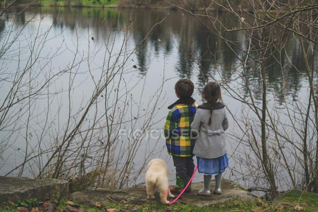 Kinder und Welpen stehen am Wasser — Stockfoto