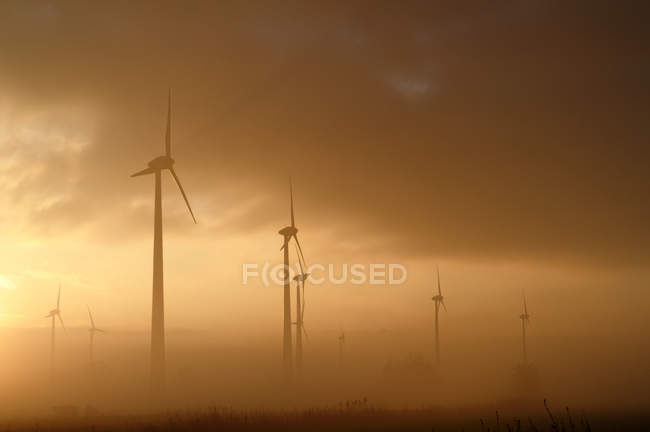 Wind turbines in fog — Stock Photo