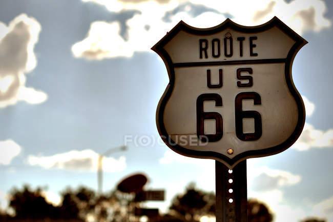 Panneau de signalisation de route 66 — Photo de stock