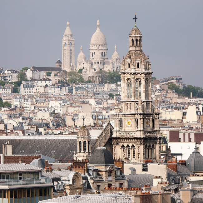 Montparnasse cityscape with cathedral tower — Stock Photo