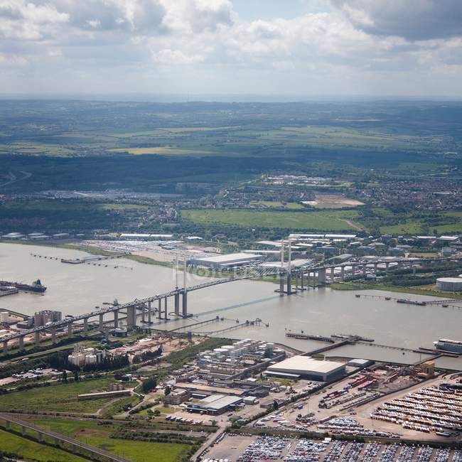 Aerial view of Dartford Crossing and surrounding landscape — Stock Photo
