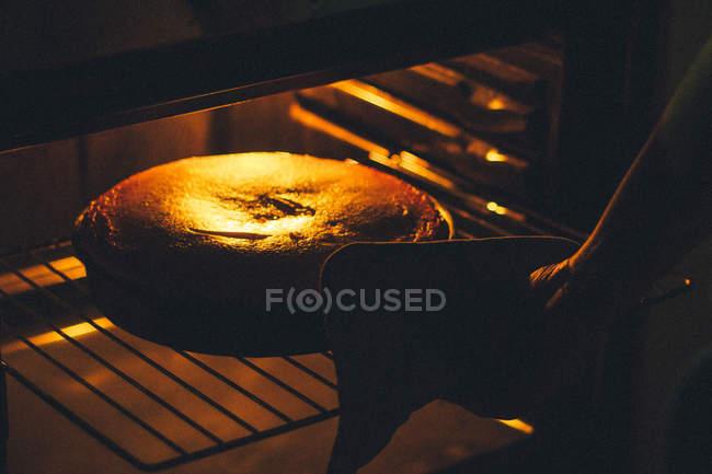 Человеческая рука, размещение пирог в духовке — стоковое фото