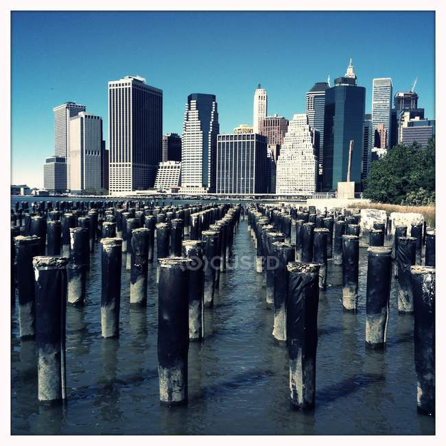 Lower manhattan skyline — Photo de stock