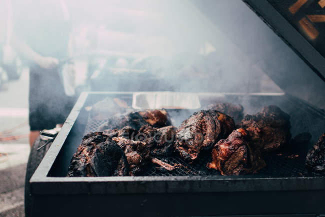 Barbecue beef on a grill — Stock Photo