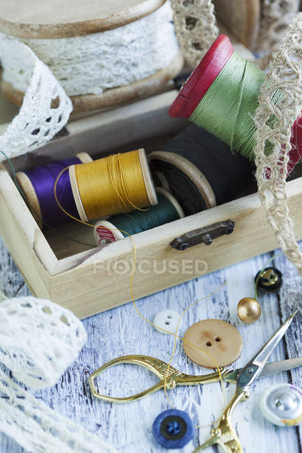 Tools for needlework, thread for sewing — Stock Photo