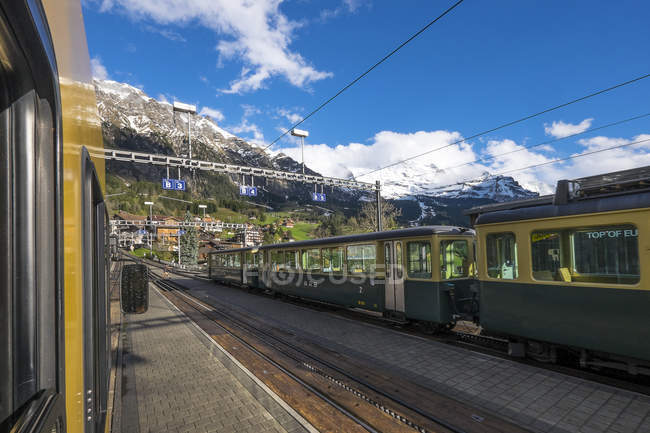 Mountain train at railroad station — Stock Photo