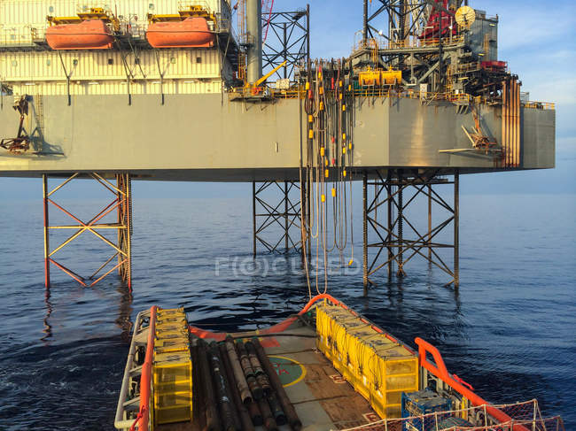 Oil rig support vessel — Stock Photo