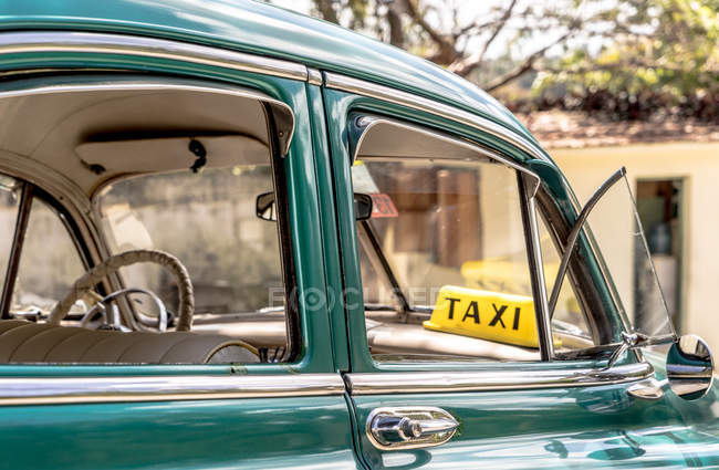 Close up of vintage taxi — Stock Photo