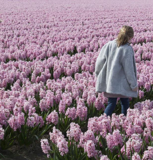 Garota andando por um campo — Fotografia de Stock