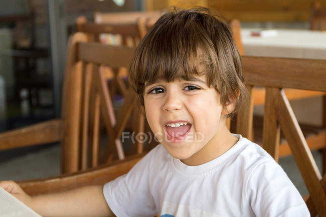 Angry boy making face — Stock Photo