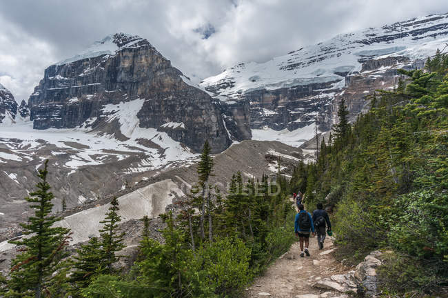 Excursionistas a pie por sendero - foto de stock