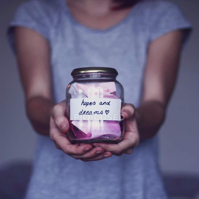 Glas mit Hoffnungen und Träumen — Stockfoto