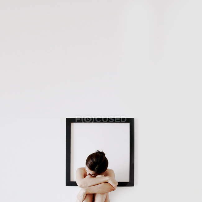 Woman lonely in frame — Stock Photo