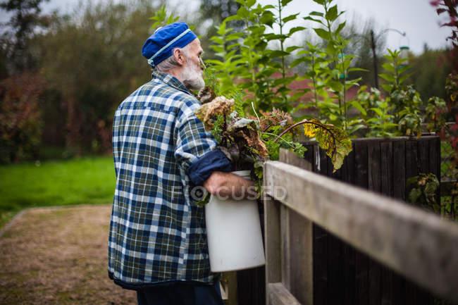 Senior hombre llevar cubo de muertos deja - foto de stock