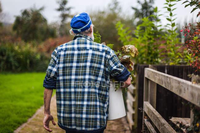 Hombre que sostiene en las manos cubo con residuos de jardín - foto de stock