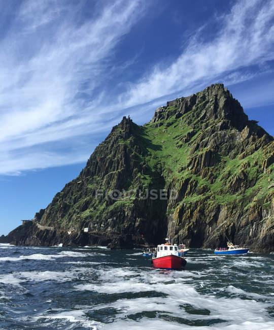 Nautical vessel fishing in Atlantic ocean — стокове фото
