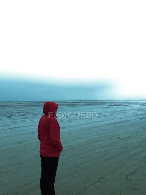 Woman standing on winter beach — Stock Photo