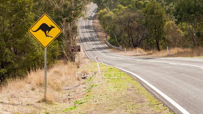 Road with Kangaroo sign — Stock Photo