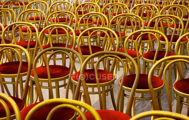 Rows of chairs with cushions — Stock Photo
