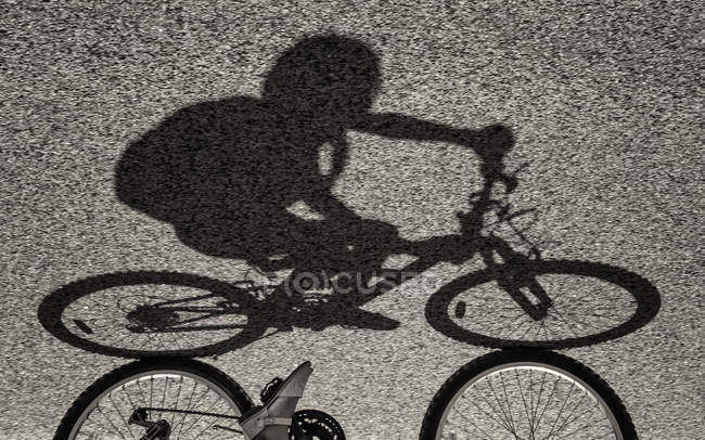 Shadow of girl riding bike — Stock Photo