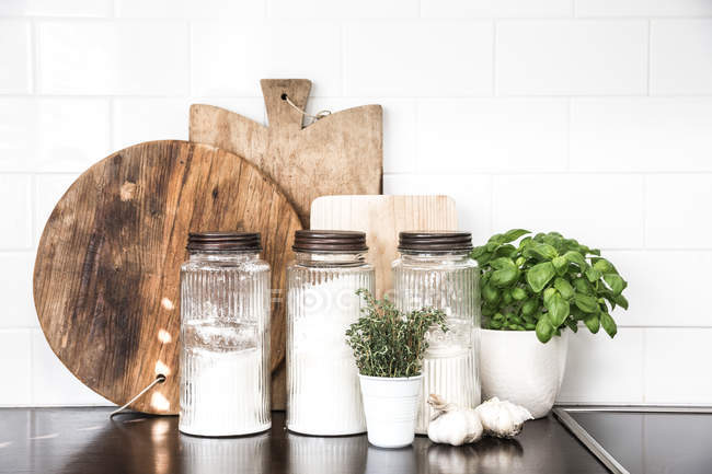 Kitchen essentials on table — Stock Photo