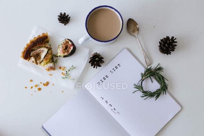 Lista de desejos com chá — Fotografia de Stock